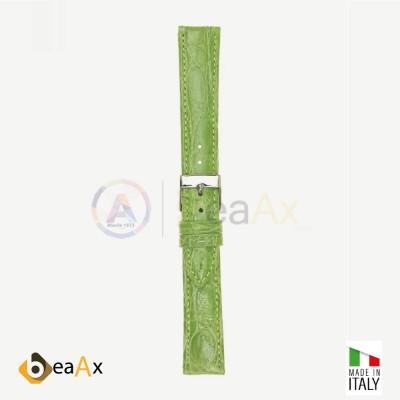 Cinturino vero coccodrillo brasile Verde chiaro fibbia acciaio - Made in Italy