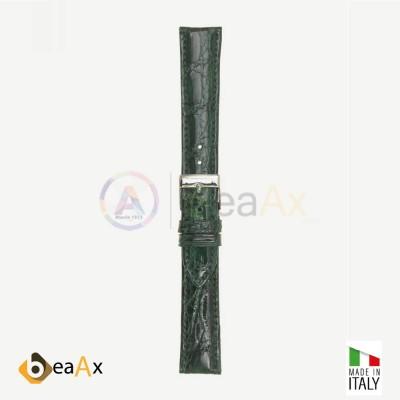 Cinturino vero coccodrillo brasile Verde scuro fibbia acciaio - Made in Italy