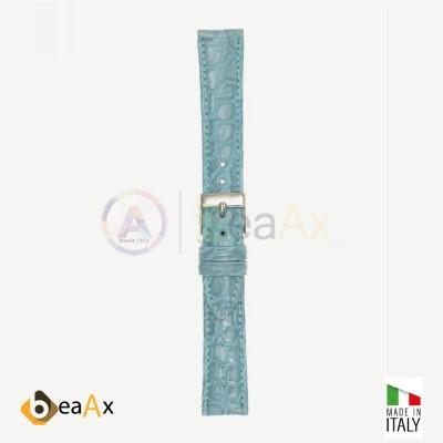 Cinturino vero coccodrillo brasile Azzurro fibbia acciaio - Made in Italy