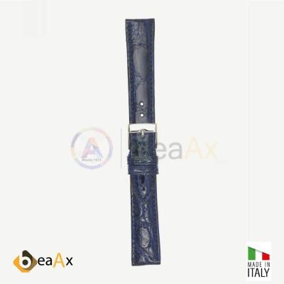 Cinturino vero coccodrillo brasile Blu fibbia acciaio - Made in Italy