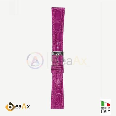 Cinturino vero coccodrillo brasile Fuxia scuro fibbia acciaio - Made in Italy PP602-15A