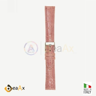 Cinturino vero coccodrillo brasile Rosa fibbia acciaio - Made in Italy PP602-16