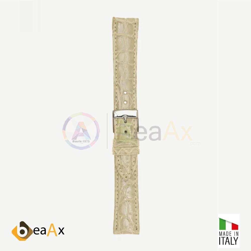 Cinturino vero coccodrillo brasile Avorio fibbia acciaio - Made in Italy PP602-19