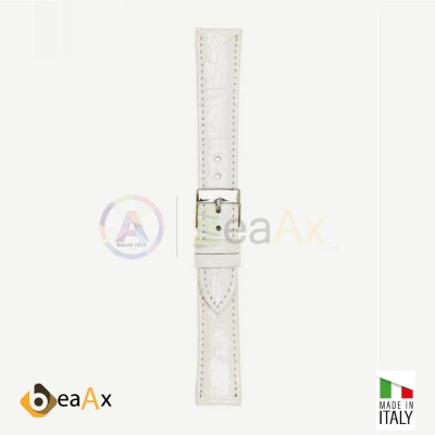 Cinturino vero coccodrillo brasile Bianco fibbia acciaio - Made in Italy PP602-20