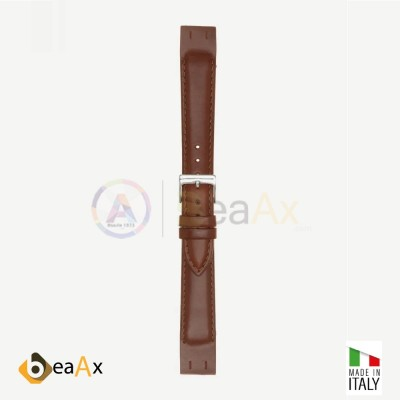 Vacchetta toscana leather watchstrap open structure with stitching Cognac