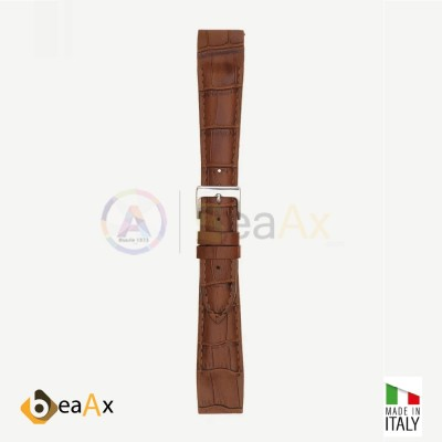 Matt tropical calf leather watchstrap open structure with stitching Cognac