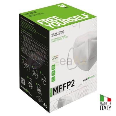 Confezione di 50 mascherine pieghevoli in tessuto non tessuto FFP2 - Made in Italy MASK-FFP2-BOX