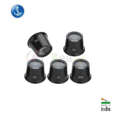Kit di 5 monocoli classici in plastica nera da orologiaio con lente minerale TS1543