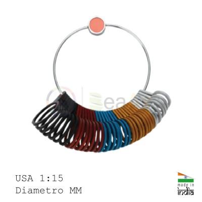 Anelliera in alluminio colorata 2 scale misure USA 1 / 15 e MM con 29 anelli AG0872
