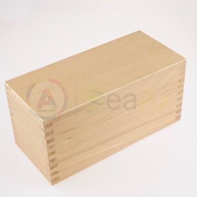 Scatola legno 9 scompartimenti removibili chiusura metallo scatto 200x85x95 mm AG0152-B