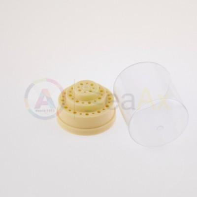 Scatola tonda plastica porta punte e frese 36 posti su 3 ripiani con coperchio AG0165