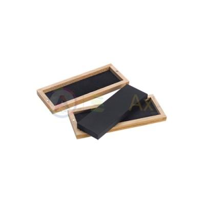 Pietra di paragone naturale 150x50x12 mm con custodia in legno saggio metalli TS1478