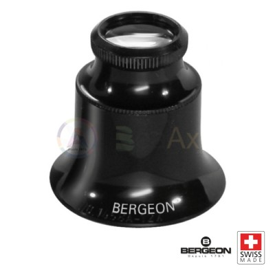 Lente monocolo Bergeon ingrandimento 6,7x in plastica nera Swiss Made  BG4422-15