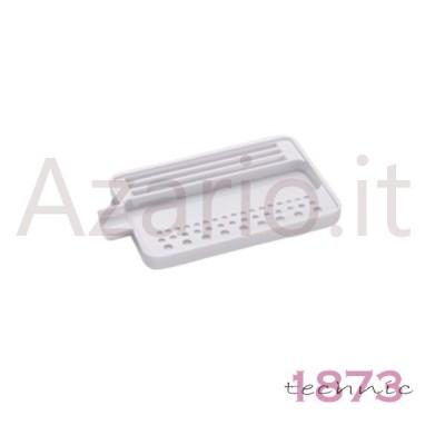 Vassoio plastica bianco per infilatura perle e pietre 110x70x10 mm