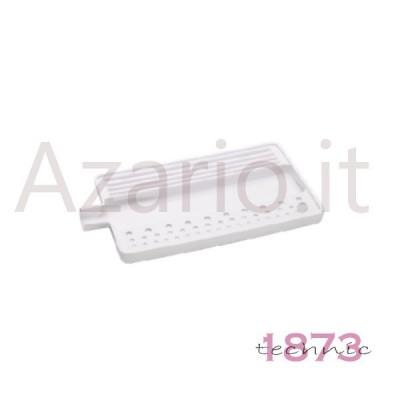 Vassoio plastica bianco per infilatura perle e pietre 180x95x10 mm