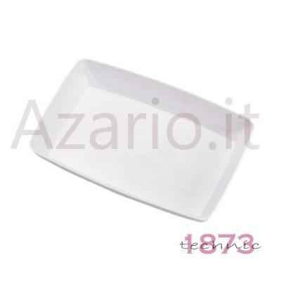 Rectangular white plastic tray 120x90x20 mm