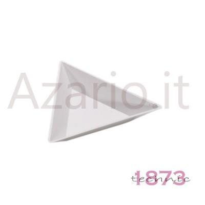Vassoio portapezzi triangolare in plastica lucida bianca 80x11 mm - Conf. 5 pz