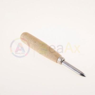 Brunitore in acciaio con lama dritta e manico in legno 150 mm