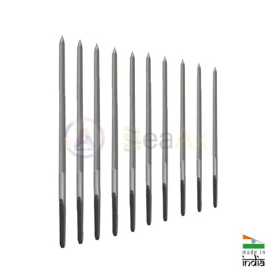 Assortment of 5-sided cutting broaches without handle 10 pcs ø 0.80 - 2.60 mm