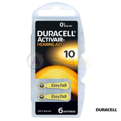 Duracell Activair Misura 10 - PR70 Giallo pile per apparecchi acustici 6 pz DA10