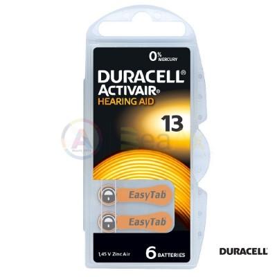 Duracell Activair Misura 13 - PR48 Arancione pile per apparecchi acustici 6 pz DA13