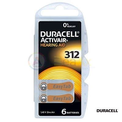 Duracell Activair Misura 312 - PR41 Marrone pile per apparecchi acustici 6 pz DA312