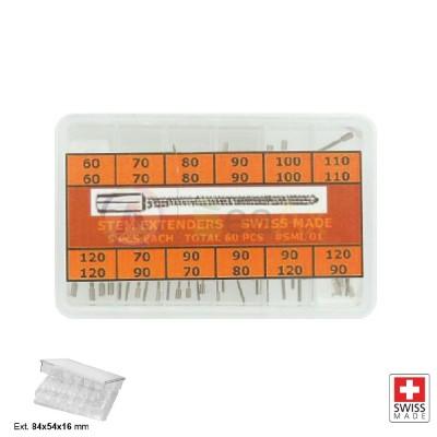 Assortimento 60 prolunghe acciaio per alberi di carica tige orologi Swiss Made SL0001
