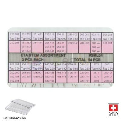 Assortimento alberi di carica e tige per ETA 54 pz Swiss Made in box plastico