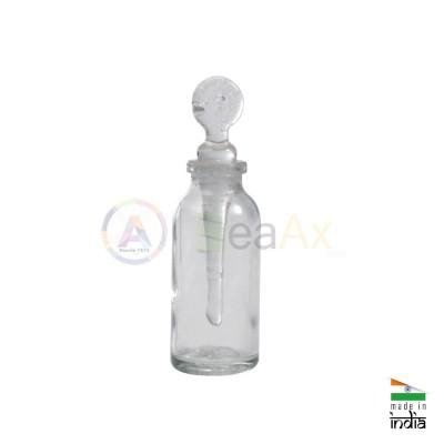 Flacone porta acido reagenti forma tonda in vetro con tappo dosatore ø 30x55 mm