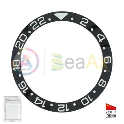 Inserto in ceramica per ghiera Rolex GMT Master II Nero indici argento 116710.LN