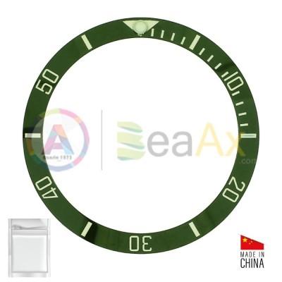 Ceramic bezel insert for Rolex Submariner Green with silver index 116610