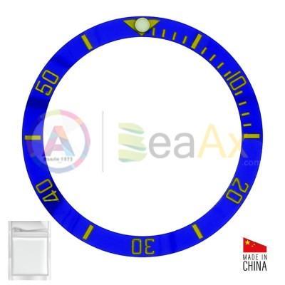 Inserto in ceramica per ghiera Rolex Submariner Blu indici oro 116613.LN 116618