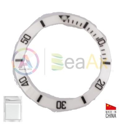 Inserto in ceramica per ghiera Rolex Submariner Bianco indici neri BeaAx series RX-315.116800.WH