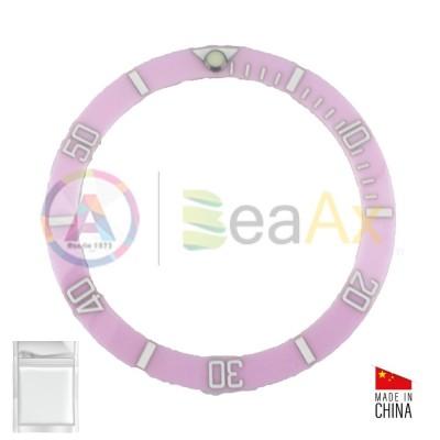 Inserto in ceramica per ghiera Rolex Submariner Rosa indici bianchi BeaAx series