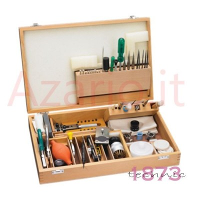 Kit utensili attrezzature orologiaio valigia custodia legno orologi watch tools