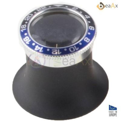 Monocolo in alluminio nero con ghiera stile GMT blu e nero lente zaffiro ø 22 mm BX7064-BTM