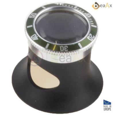 Monocolo in alluminio nero con ghiera stile Submariner verde lente zaffiro ø 22 mm BX7064-SG