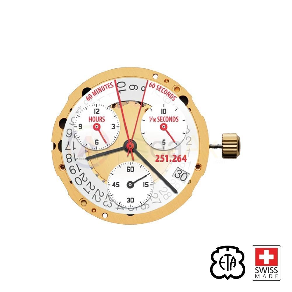 Movimento al quarzo ETA 251.264 cronografo data 4 Orizz. Swiss Made ex. 251.262 ETA-251.264-4H
