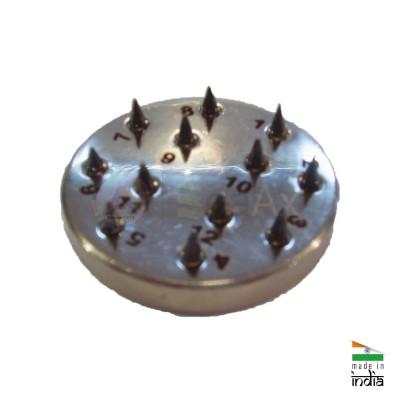 Fions su base tonda in acciaio numerata 12 testine semisferiche acciaio temprato AG0193
