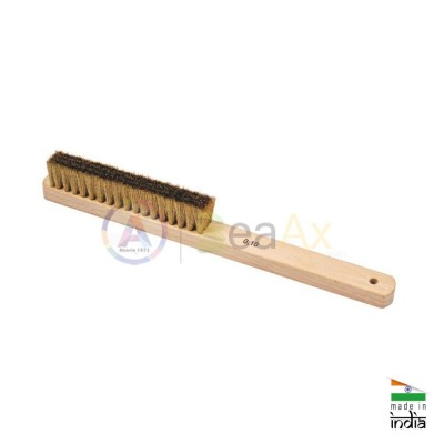 Polishing hand brush with wooden handle Brass wire ø 0.10 mm and 5 raws