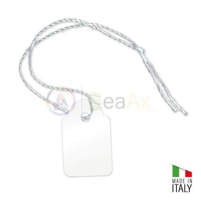 Etichette in cartoncino bianco 38x25 mm con filo 100 pz per prezzi e riparazioni
