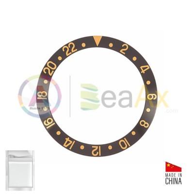 Inserto in alluminio per ghiera Rolex GMT Master I Nero indici Oro 16753 16758