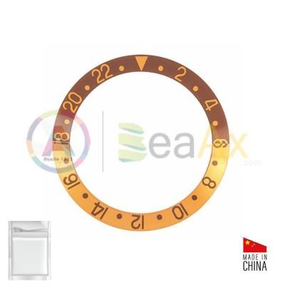 Inserto in alluminio per ghiera Rolex GMT Master I Nero indici Oro 16753