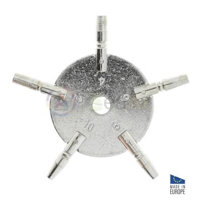 Chiave di carica per orologi da tasca in metallo 5 misure pari 2, 4, 6, 8 e 10