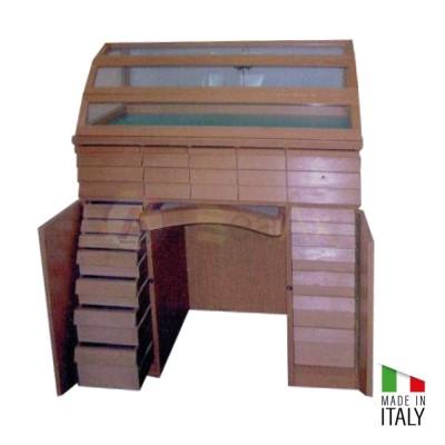 Banco in legno per orologiaio con 27 cassetti estraibili, cappottina ribaltabile