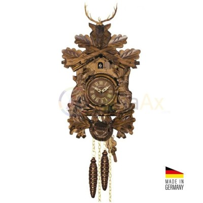 Orologio Cucù trofeo in legno marrone scuro 'noce' 40 cm - Made in Germany KK3733