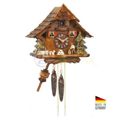 Kuckuck with automata Woodcutter in wood brown 27 cm - Made in Germany